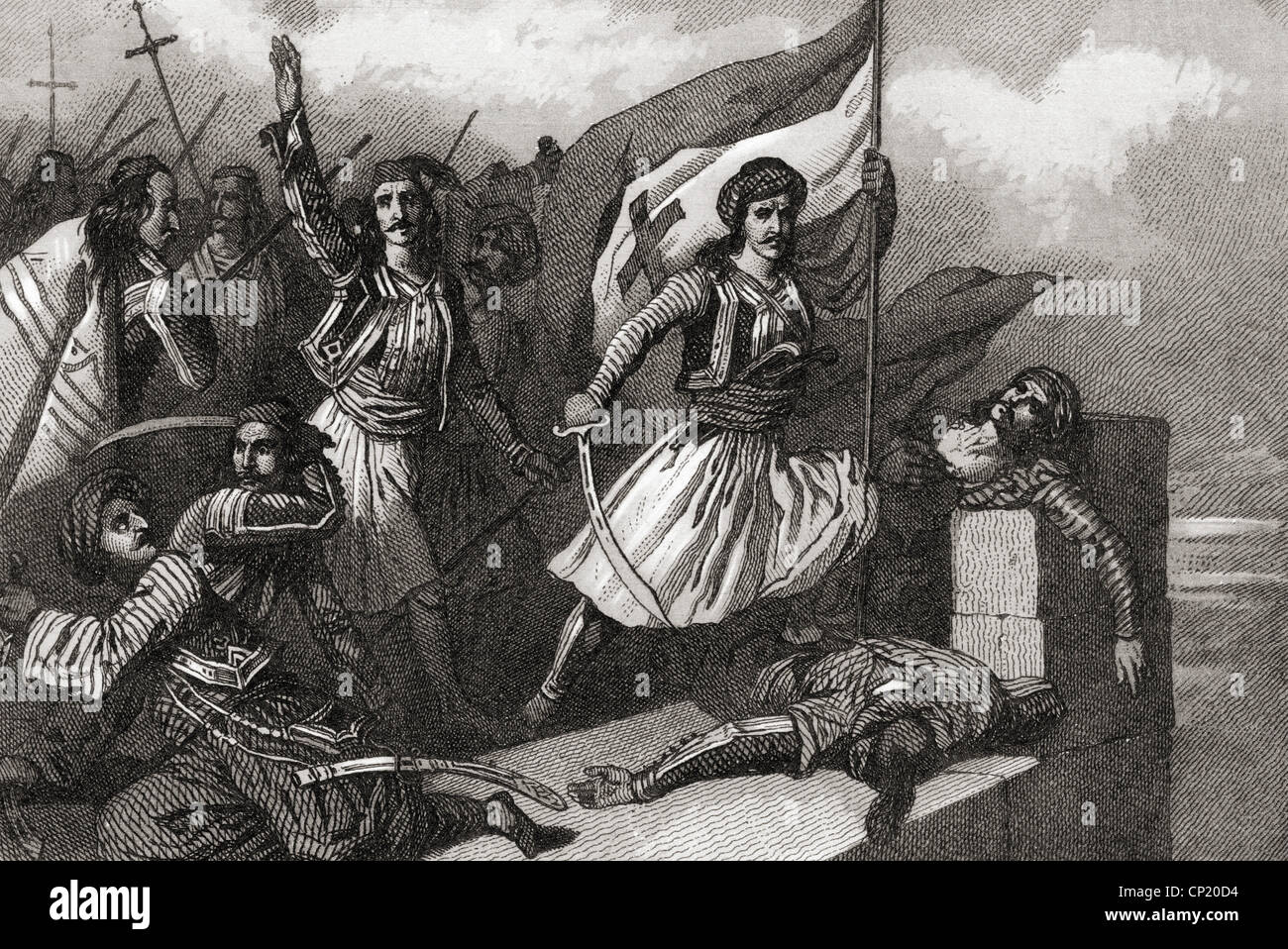 events, Greek War of Independence 1821 - 1829, the Greeks rising the flag with the cross, Easter 1821, steel engraving - Stock Image