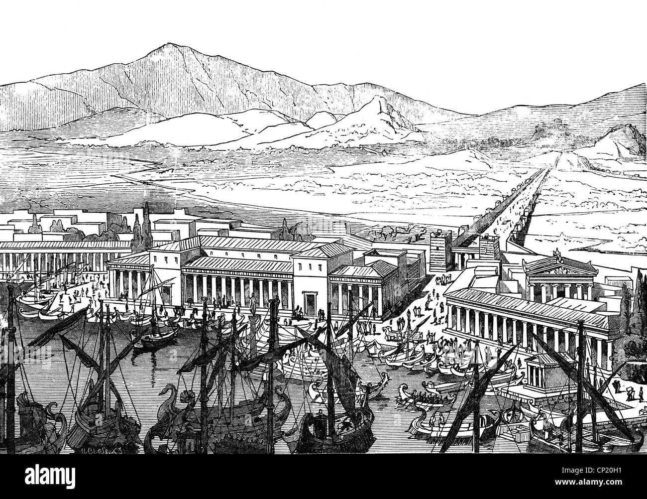 geography / travel, Greece, transport / transportation, navigation, view, harbour Piraeus, 5th/4th century BC, reconstruction, - Stock Image