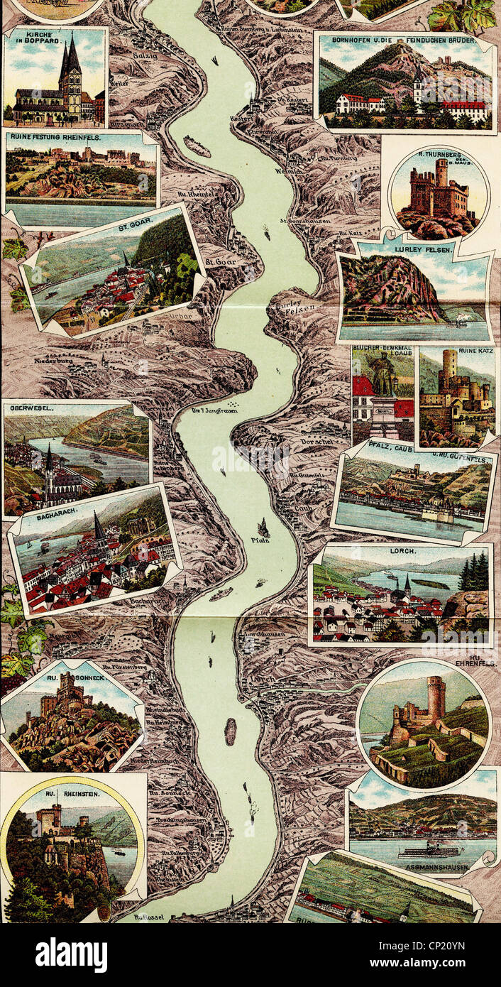 geography / travel, Germany, Rhine, Rhine Valley, panoramic view, 1909, Additional-Rights-Clearences-NA Stock Photo