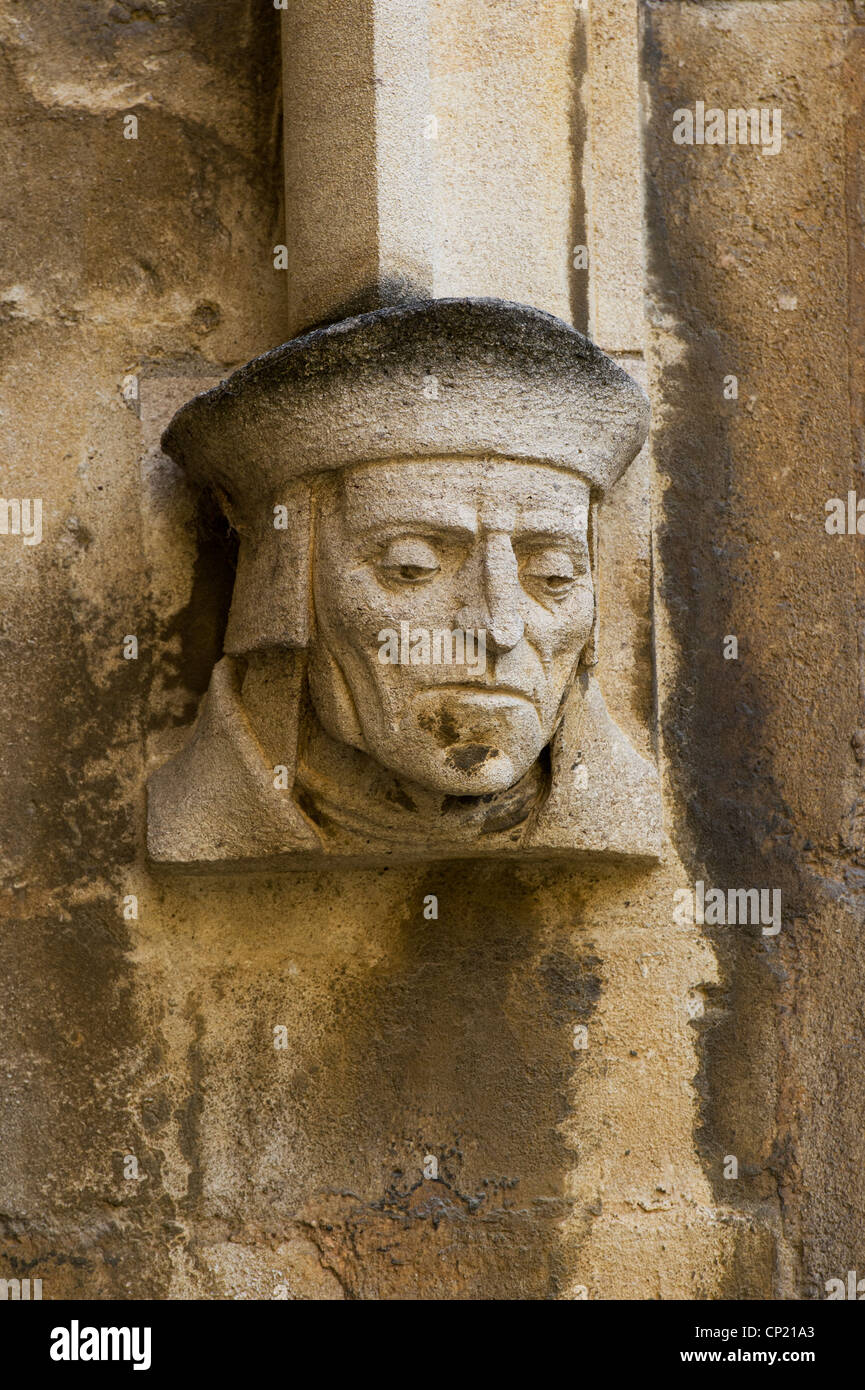 Carved stone head, Schools Quadrangle, Bodleian Library, Oxford England - Stock Image