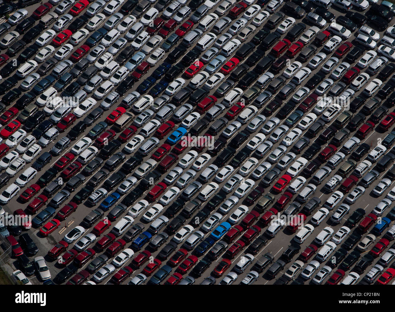 aerial photograph parked cars San Mateo county near SFO California - Stock Image