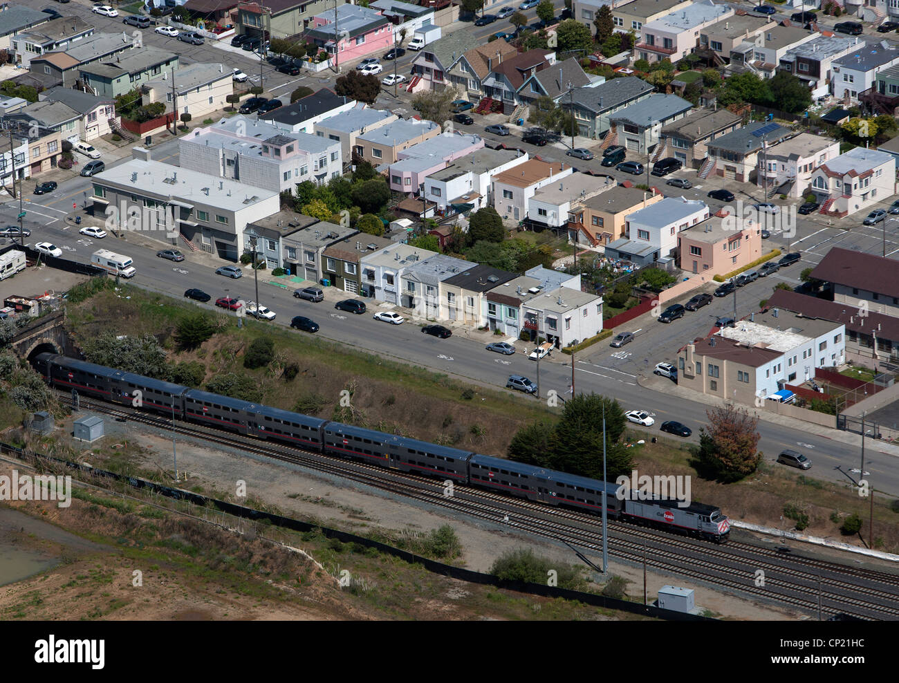 aerial photograph Caltrain emerges from tunnel San Francisco, California - Stock Image