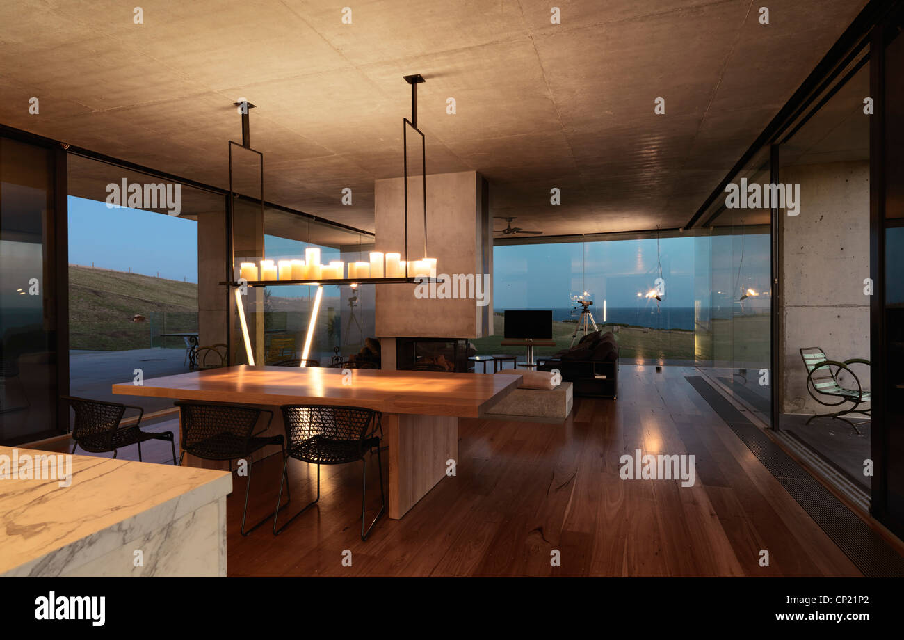 Open plan dining room and kitchen of flinders house melbourne victoria australia john bornas