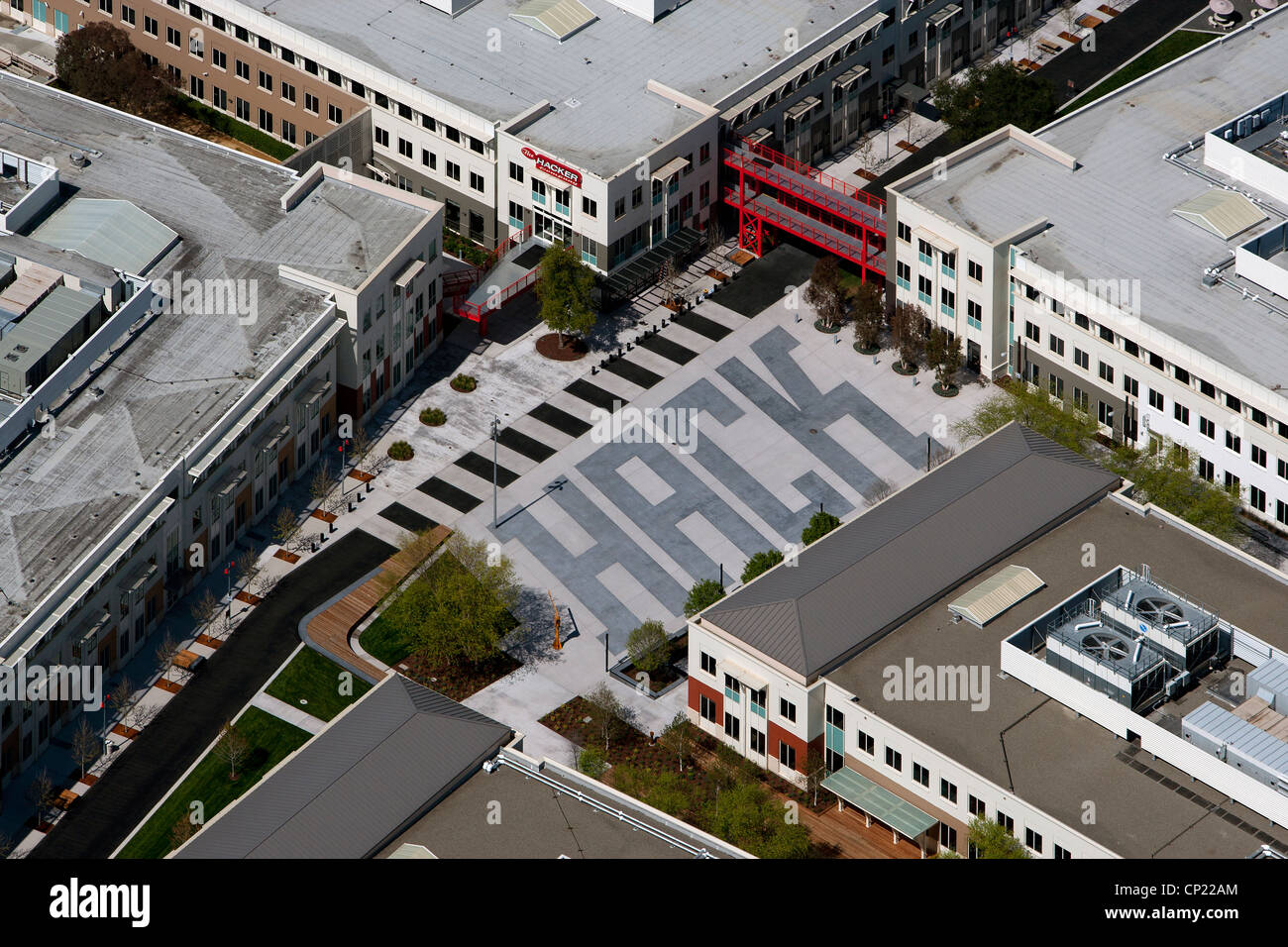 aerial photograph Facebook Headquarters, 1 Hacker Way, Menlo Park, San Mateo County, California - Stock Image