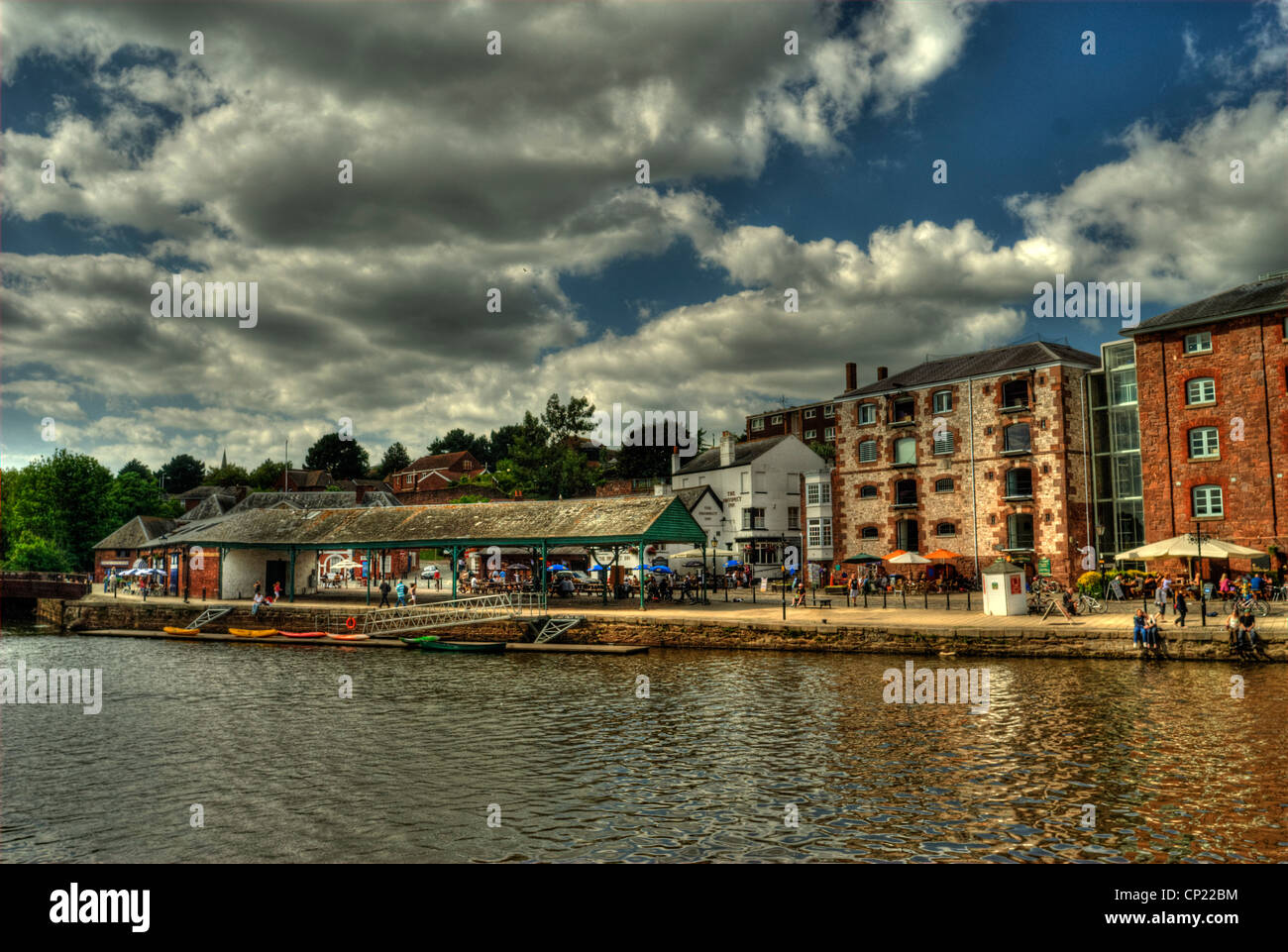 Exeter Historic quayside with the old fish market, Prospect Inn, Mangos Cafe and The Waterfront Bar. - Stock Image