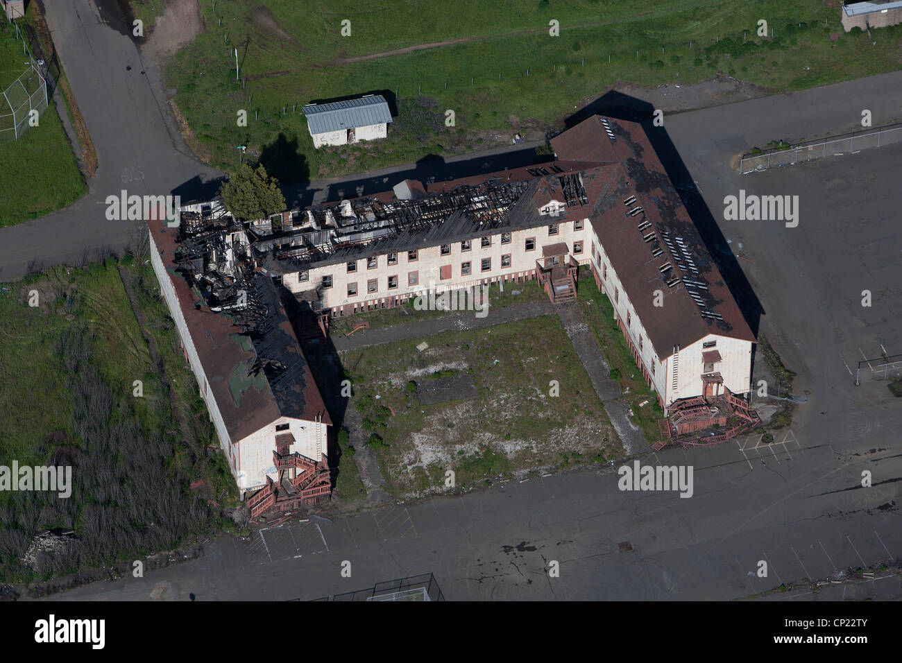 aerial photograph burned roof building Mare Island, Vallejo, California - Stock Image