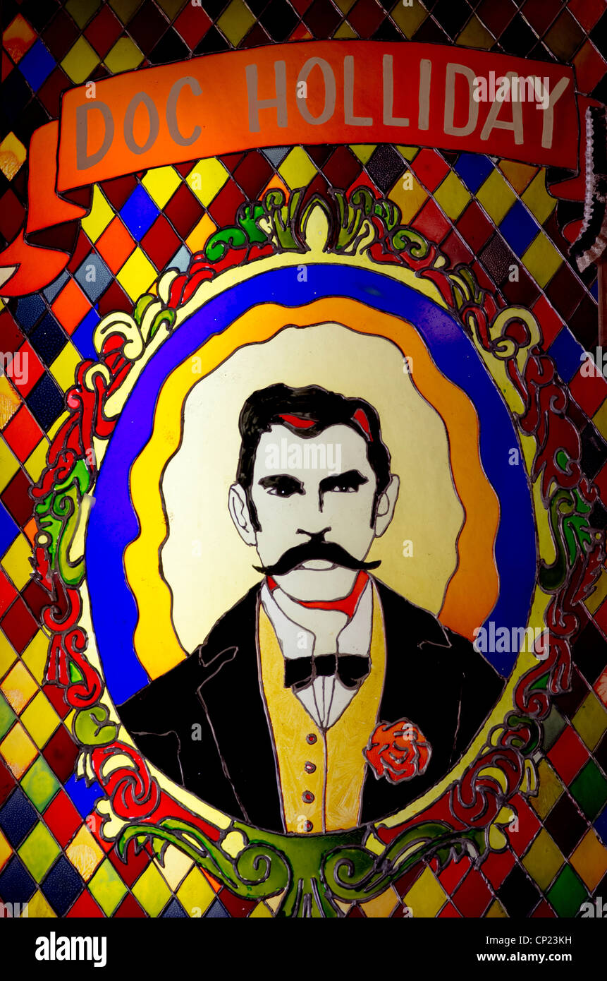 Doc Holliday immortalized in stained glass at Big Nose Kate's saloon, Tombstone, Arizona - Stock Image