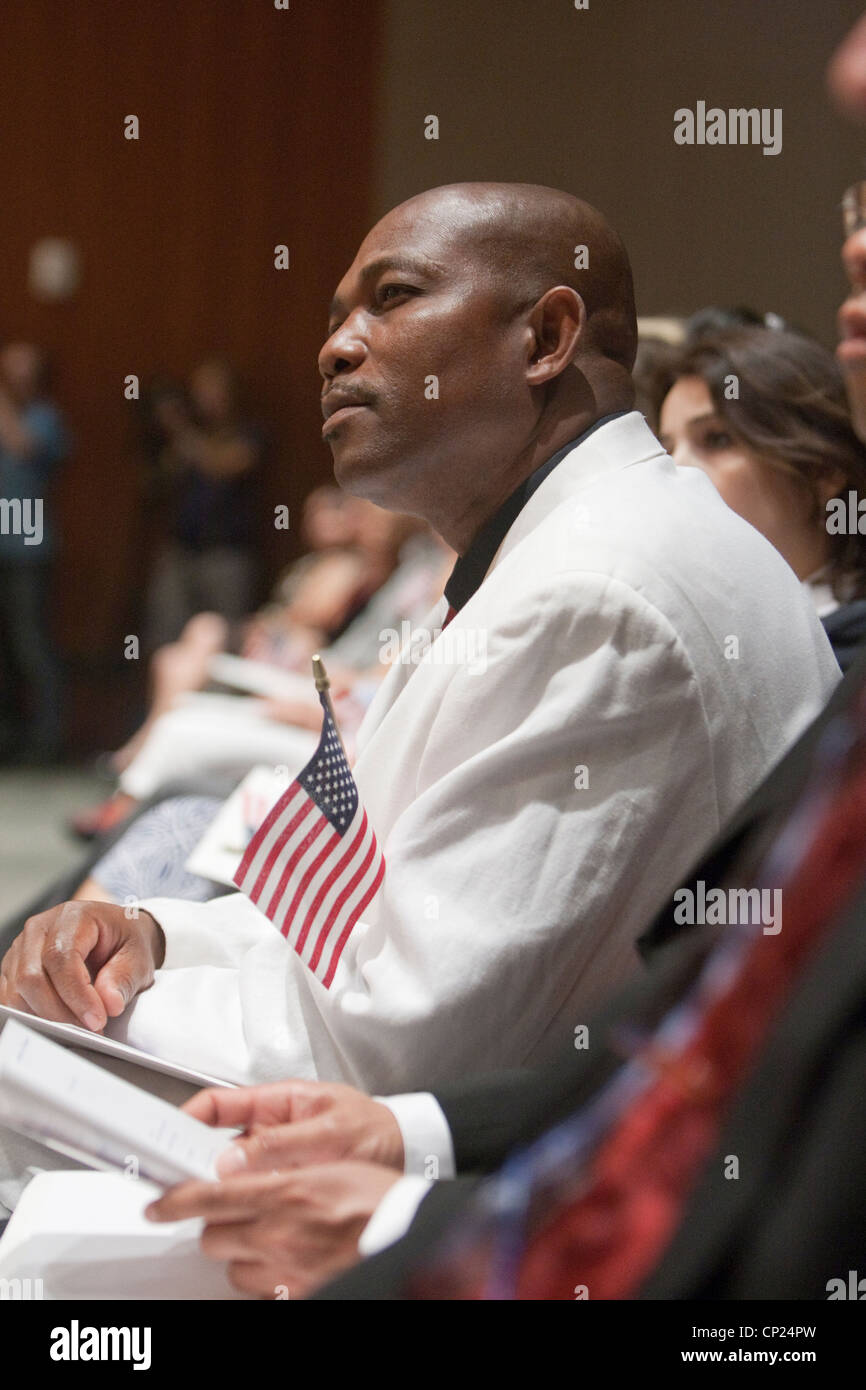 Hundreds become U.S citizens during a naturalization ceremony held in Austin, Texas - Stock Image