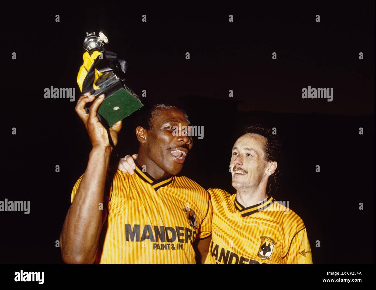 Wolverhampton Wanderers footballers Floyd Streete and Nigel Vaughan celebrate winning 3rd Division Championship - Stock Image
