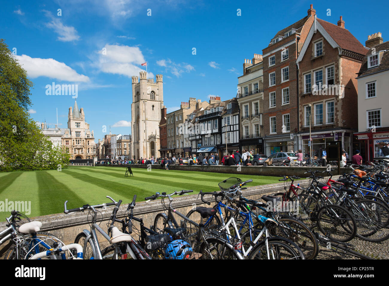 Rows of bicycles at Kings Parade. Cambridge, England. -- HIGH RESOLUTION IMAGE TAKEN WITH CARL ZEISS LENS - Stock Image