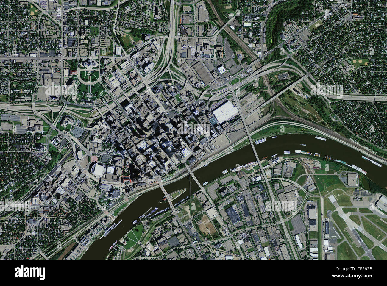 aerial photo map of St Paul, Minnesota - Stock Image