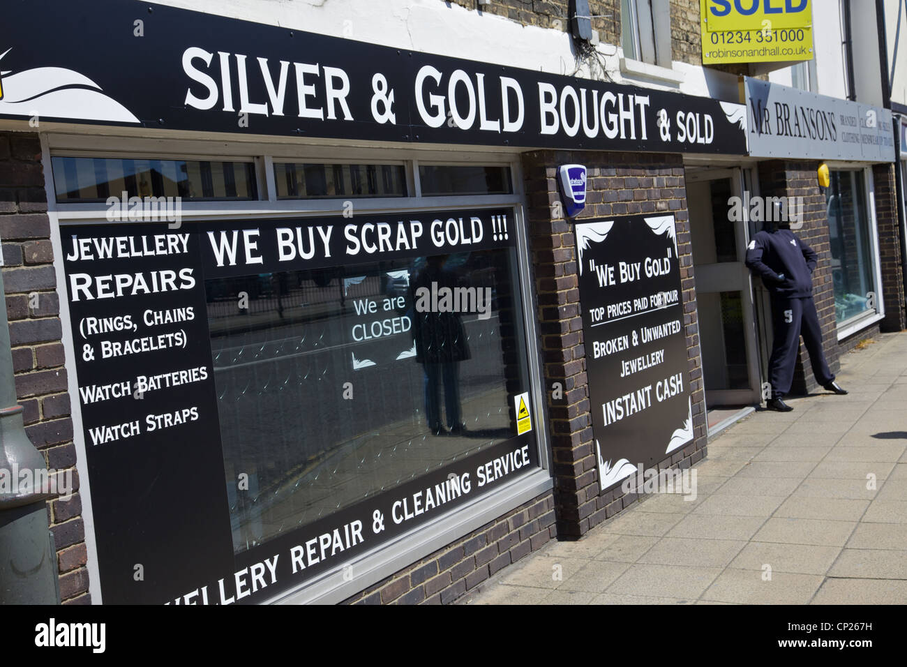 A Silver and Gold shop in Biggleswade, England - Stock Image