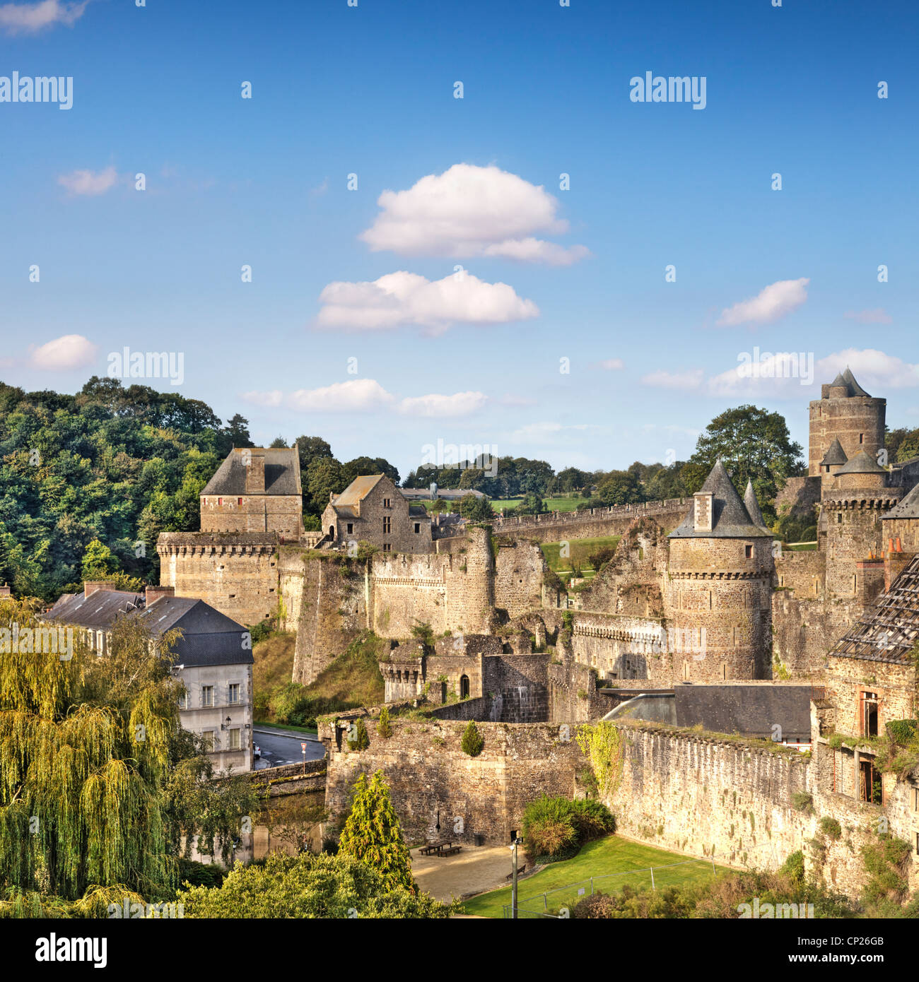 The medieval castle and town of Fougeres, Brittany, France, - Stock Image
