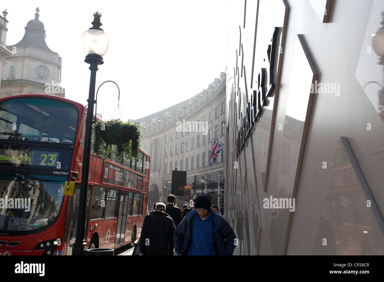 Burberry new shop Sign Regent Street shopping area in London - Stock Image