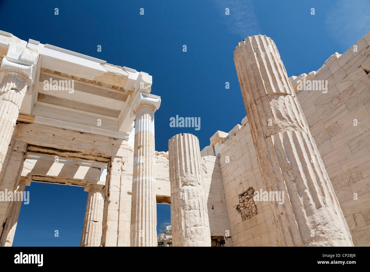 Detail view from Propylaea of the Athenian Acropolis. Athens, Greece. - Stock Image