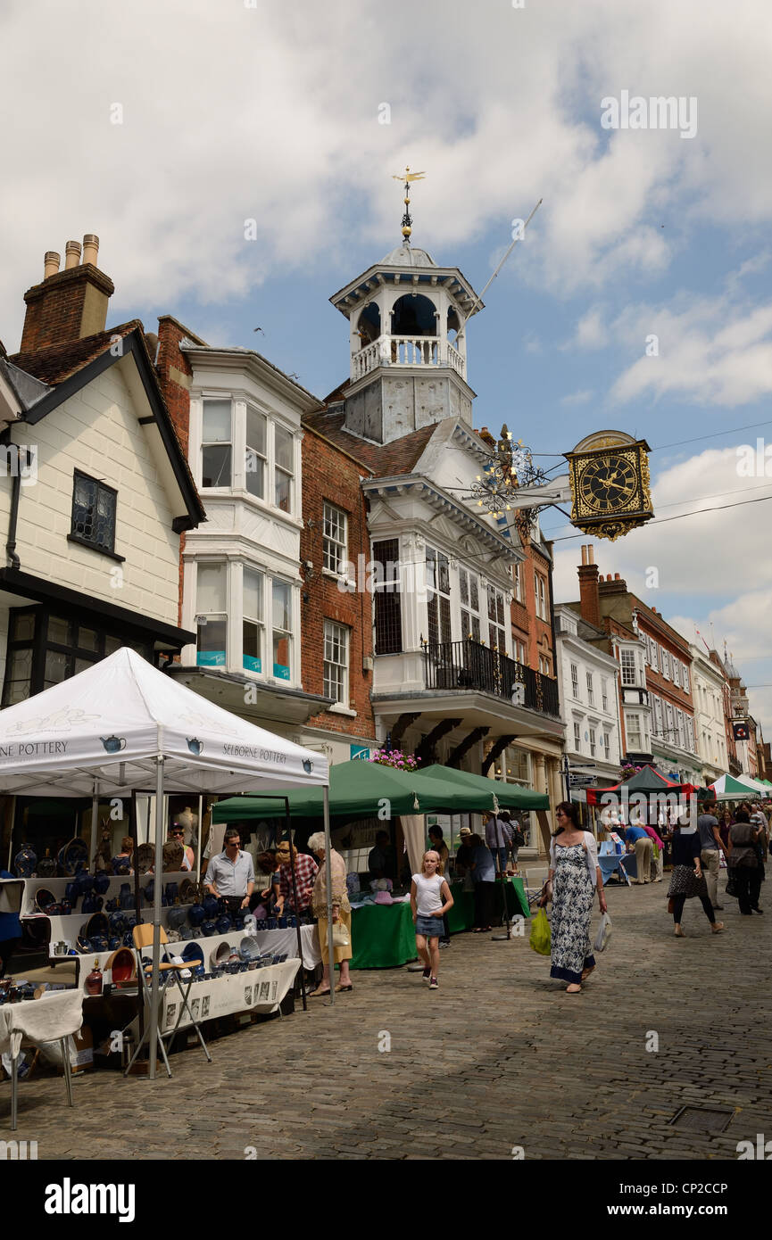 Market in Guildford High Street, Surrey, England - Stock Image