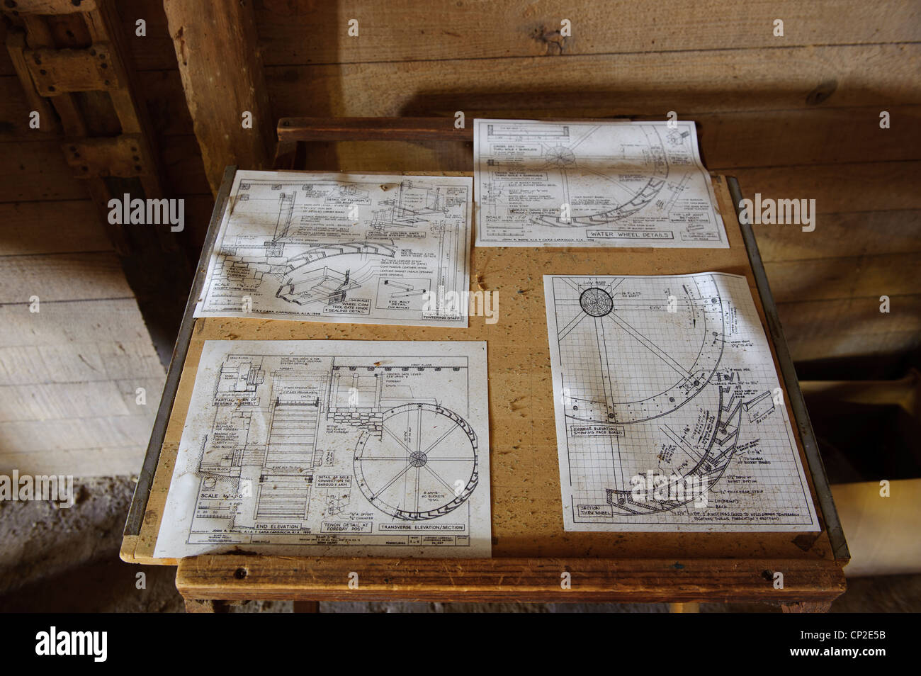 Old blueprint stock photos old blueprint stock images alamy blueprint diagram of water wheel at aberdeen mills stock image malvernweather Image collections