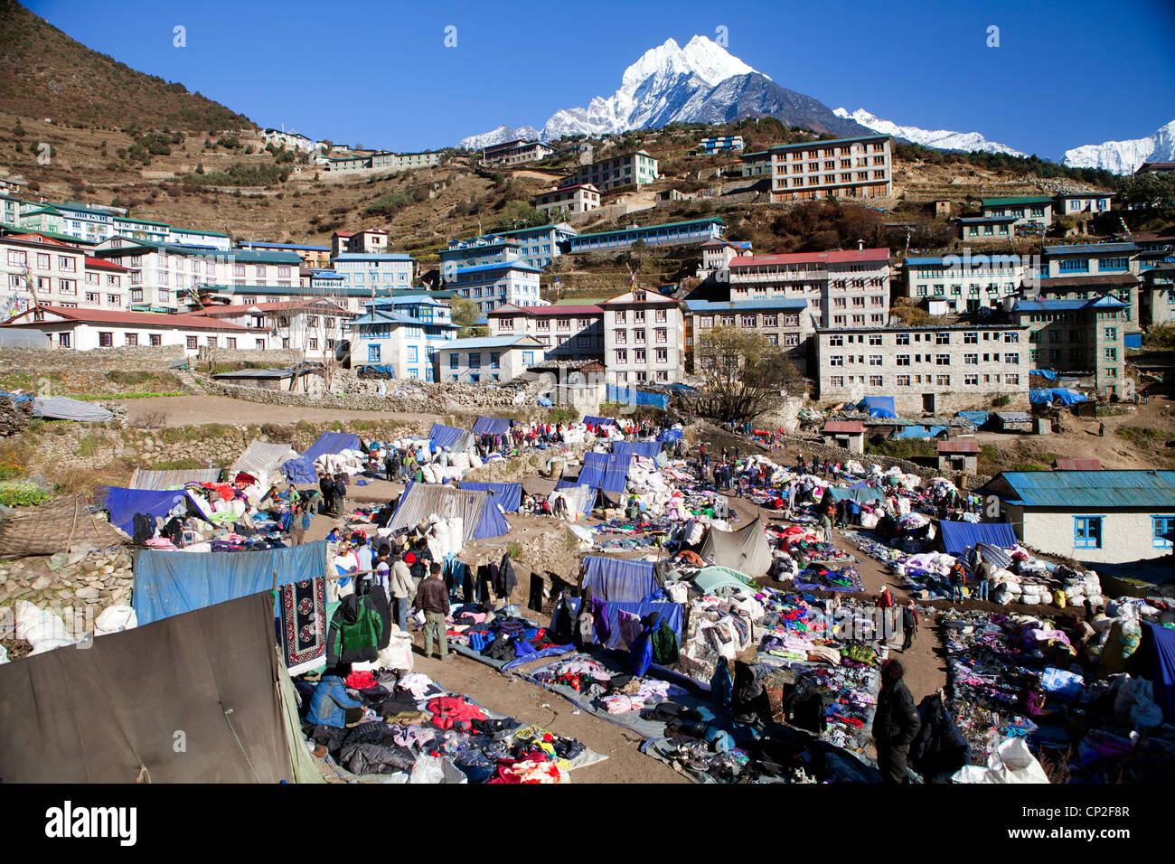 View over the Tibetan market at Namche Bazaar - Stock Image