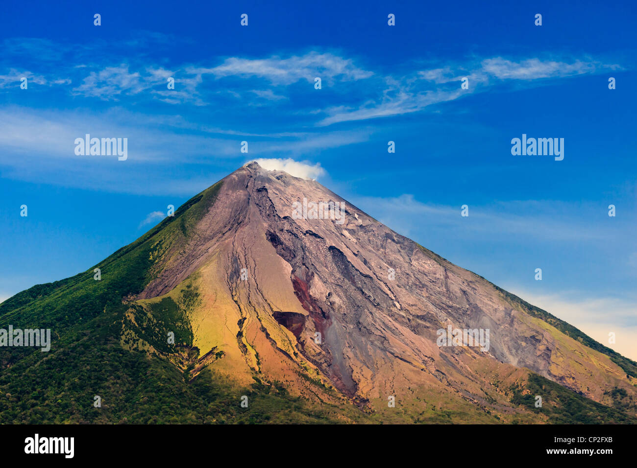 OMETEPE, NICARAGUA: View of active Conception Volcano's colorful ash deposits and green slopes. - Stock Image