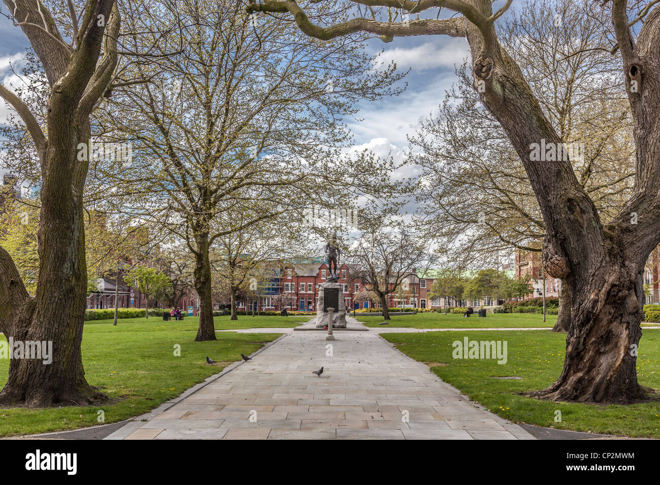 Queens Park in the centre of Warrington Palmyra Square. - Stock Image