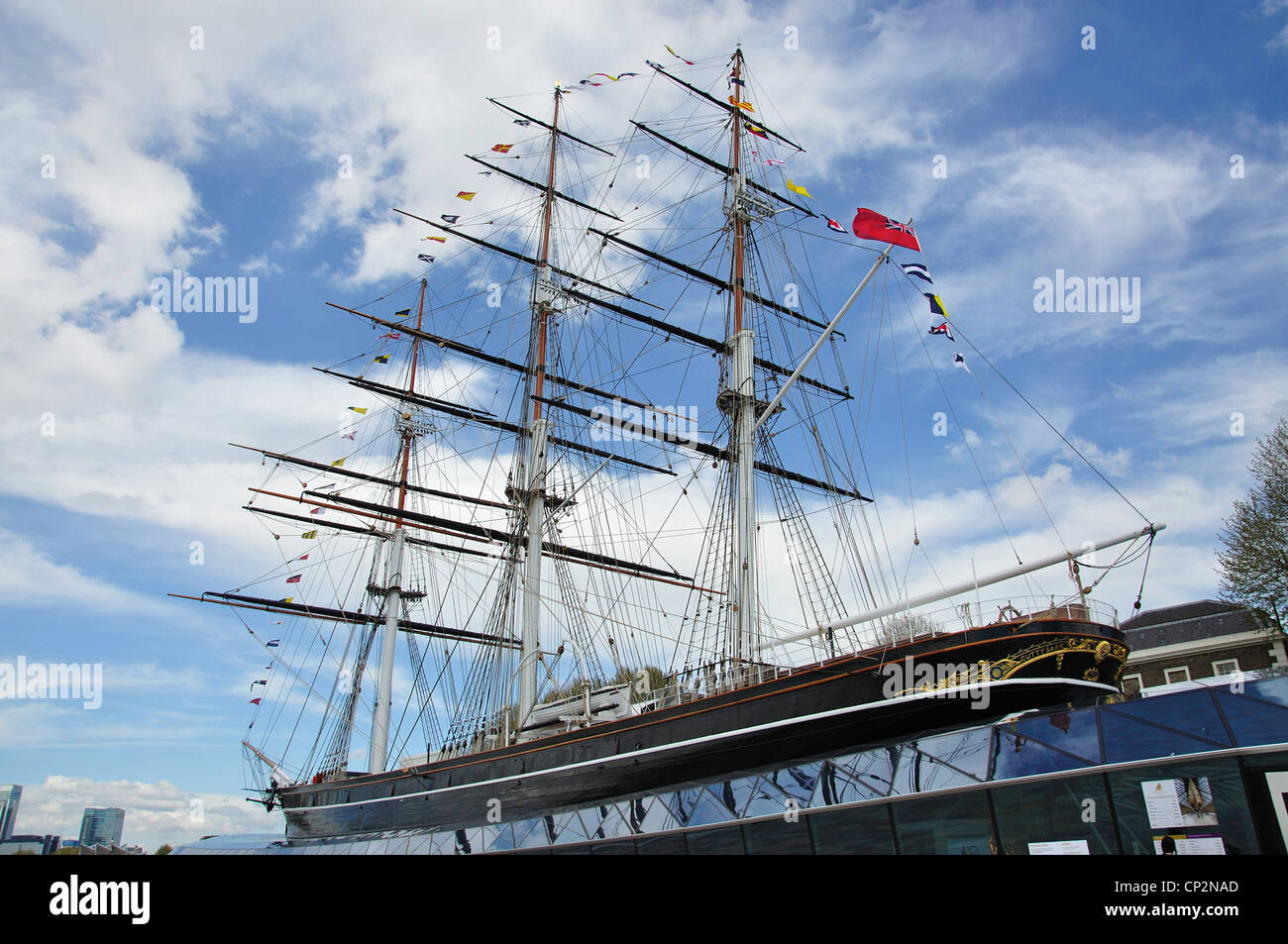 The restored 'Cutty Sark' Clipper Ship, Greenwich, London Borough of Greenwich, Greater London, England, United Stock Photo