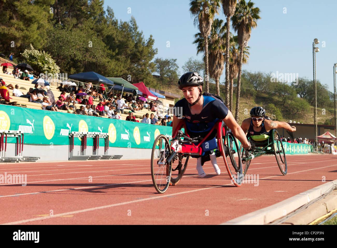 USA Mens 1500m wheelchair race At the Mt Sac relays 2012, Walnut, California, USA - Stock Image