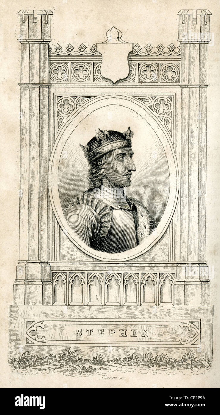 Portrait of King Stephen He was King of England from 1135 to his death, Stephen's reign was marked by the Anarchy - Stock Image