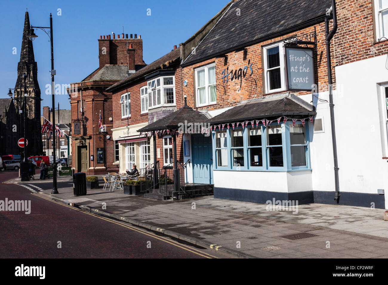 historic shops and restaurants on front street tynemouth tyne and