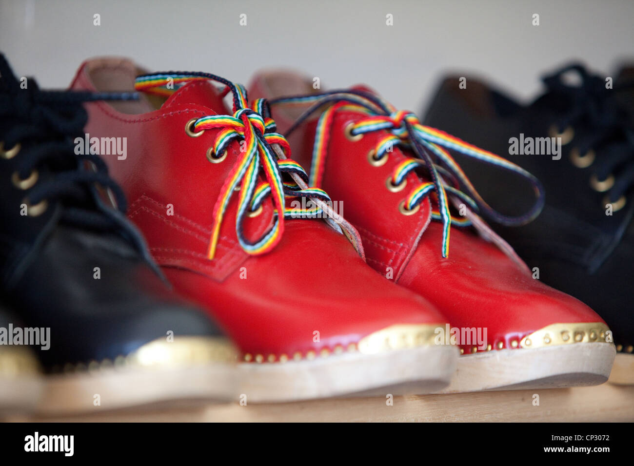 red traditional dancing clogs Stock