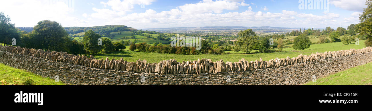 A panoramic view of the Severn Vale taken from the Cotswold scarp at Edge, Gloucestershire - Stock Image
