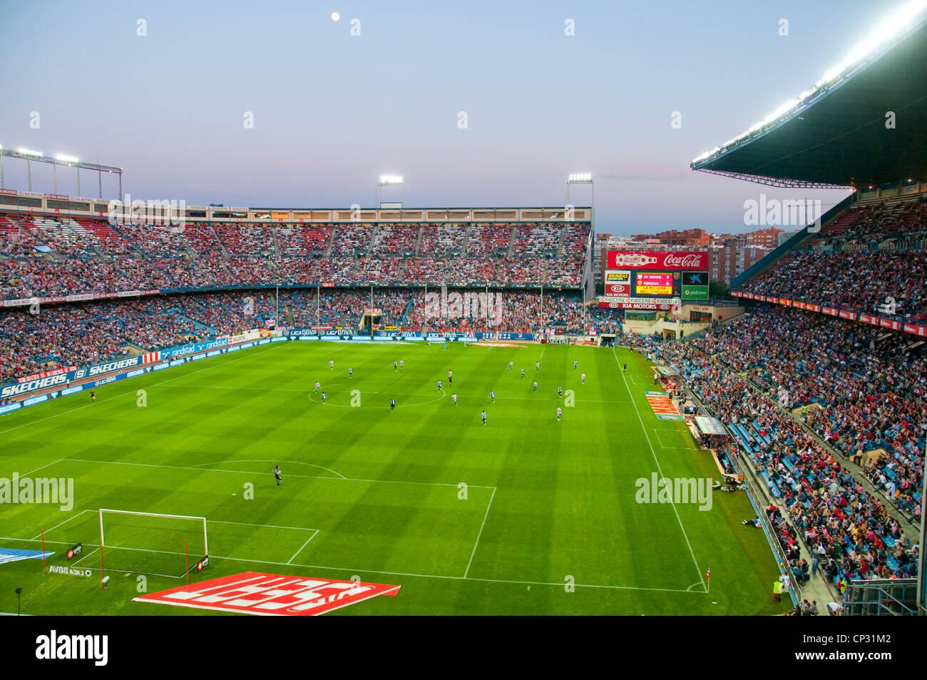 Vicente Calderon stadium during the Atletico de Madrid-Hercules CF football match, night view. Madrid, Spain. - Stock Image