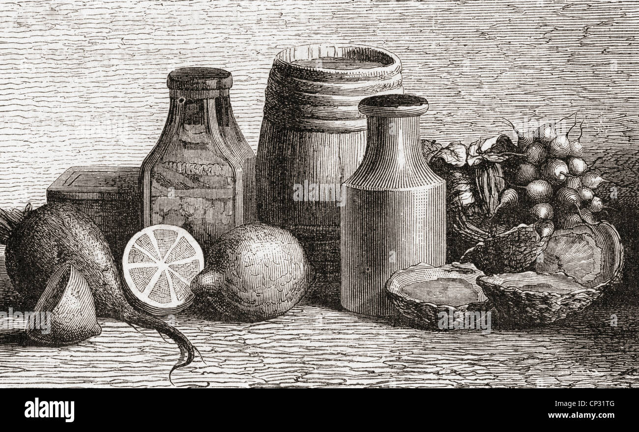 Still Life. From a 19th century print. - Stock Image