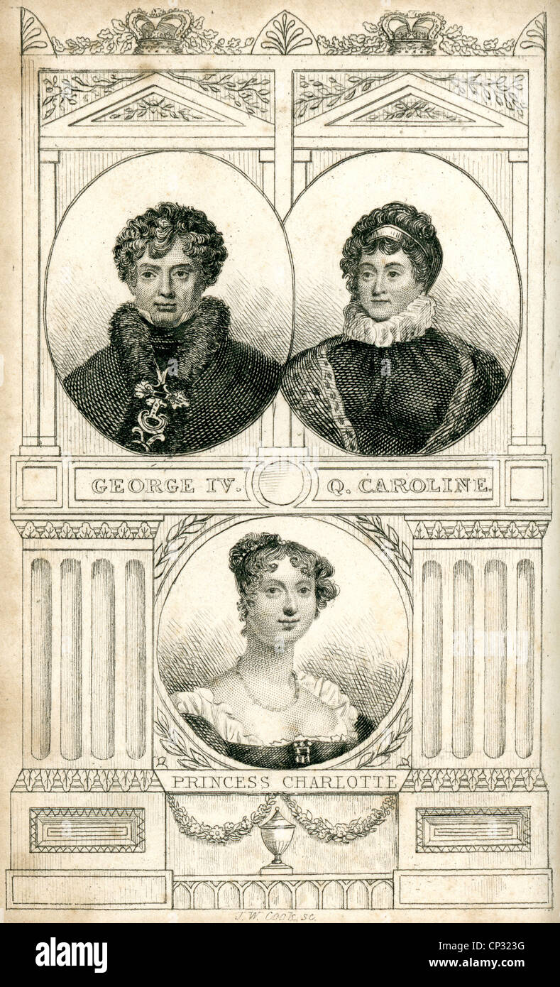 Portrait of King George IV, Queen Caroline, and Princess Charlotte of England. - Stock Image