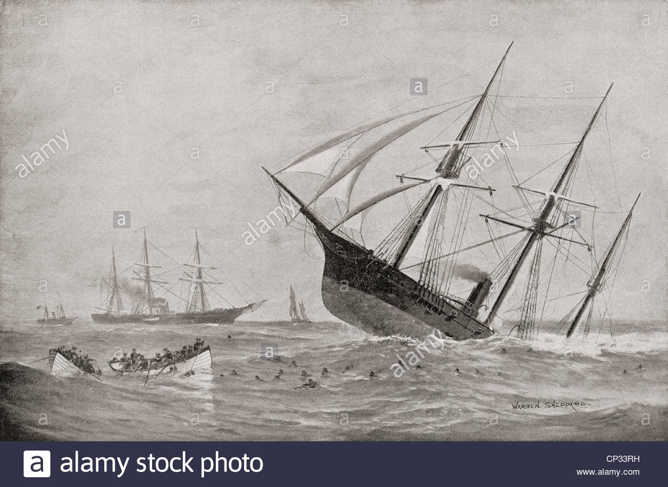 The Sinking of CSS Alabama during the Battle of Cherbourg in 1864. From Famous Men and Great Events of the 19th - Stock Image