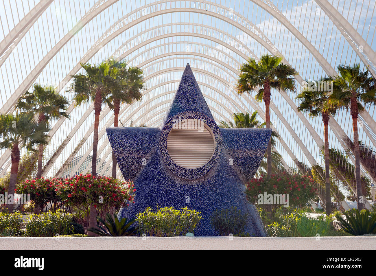 Umbrace Landscaped walk at the City of Arts and Sciences Valencia Spain Stock Photo