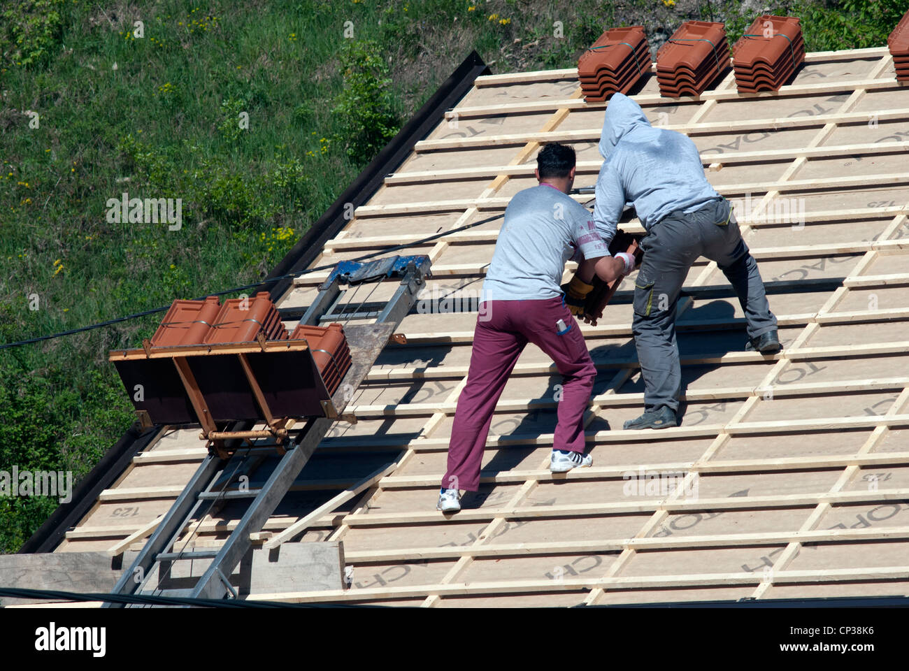 Workers on roof renewal - Stock Image