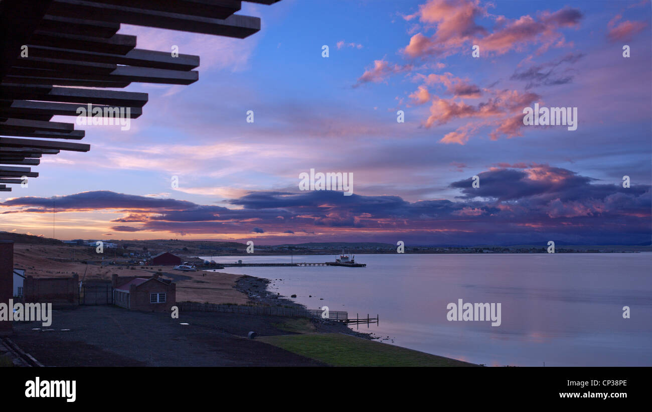 View over the Senoret Channel  from The Singular Hotel at sunrise. Puerto Bories, Patagonia, Chile. - Stock Image