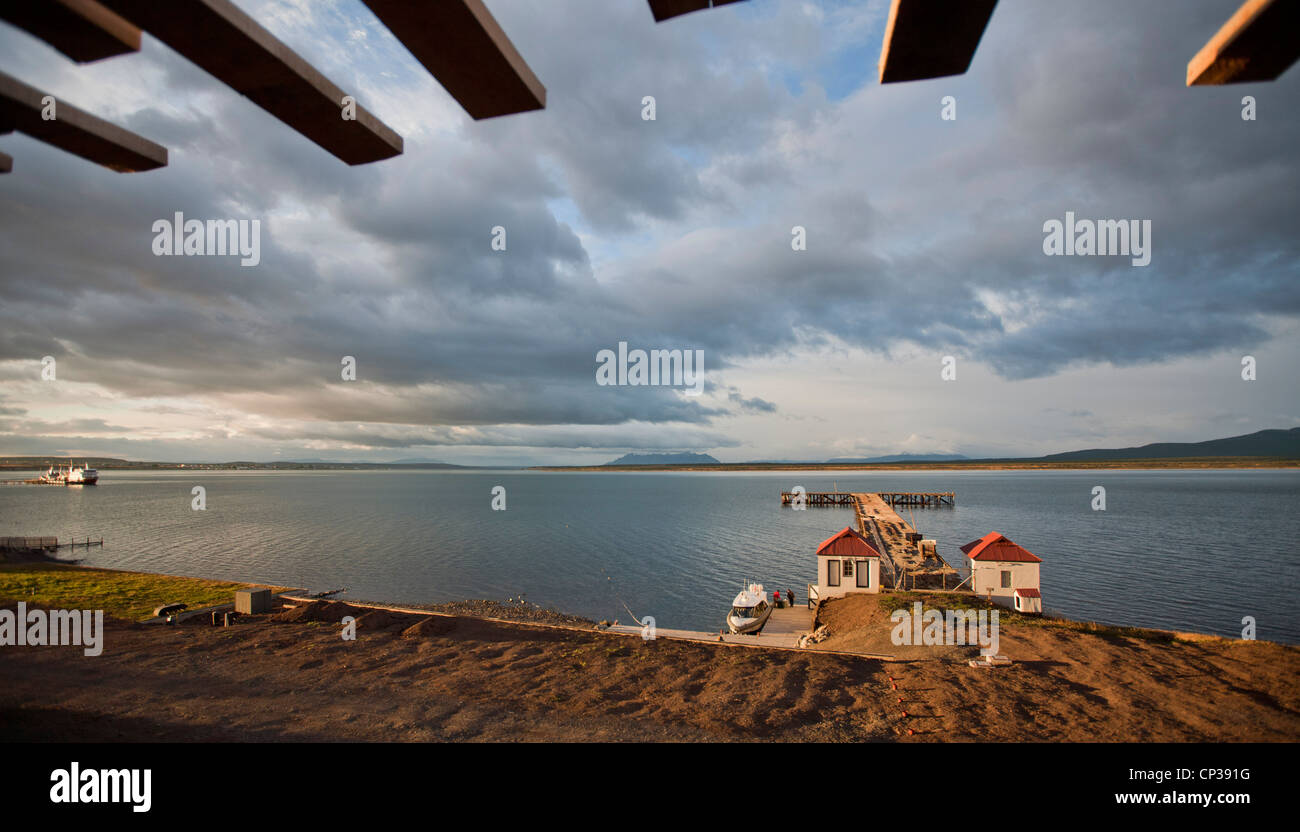 View over Senoret Channel from a room at The Singular Hotel. Puerto Bories, Patagonia, Chile. - Stock Image