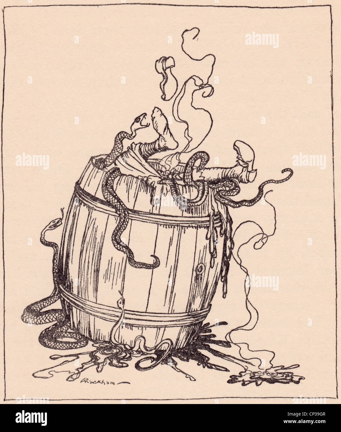 The wicked mother-in-law was put into a barrel full of boiling oil and venomous snakes. Grimm's Fairy Tale. - Stock Image