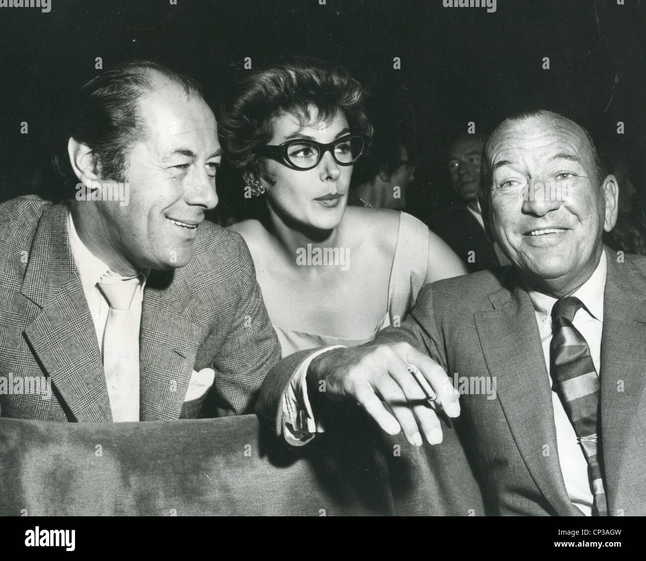 REX HARRISON at left with Kay Kendall and Noel Coward at the Night of 100 Stars in April 1973 - Stock Image