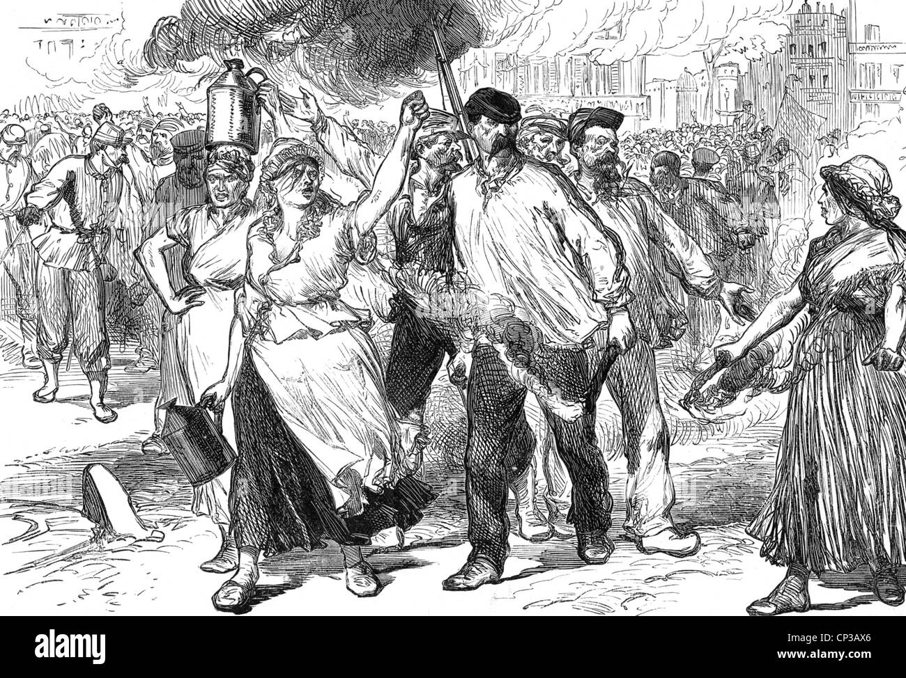 PARISIAN RIOTERS IN 1871 - Stock Image