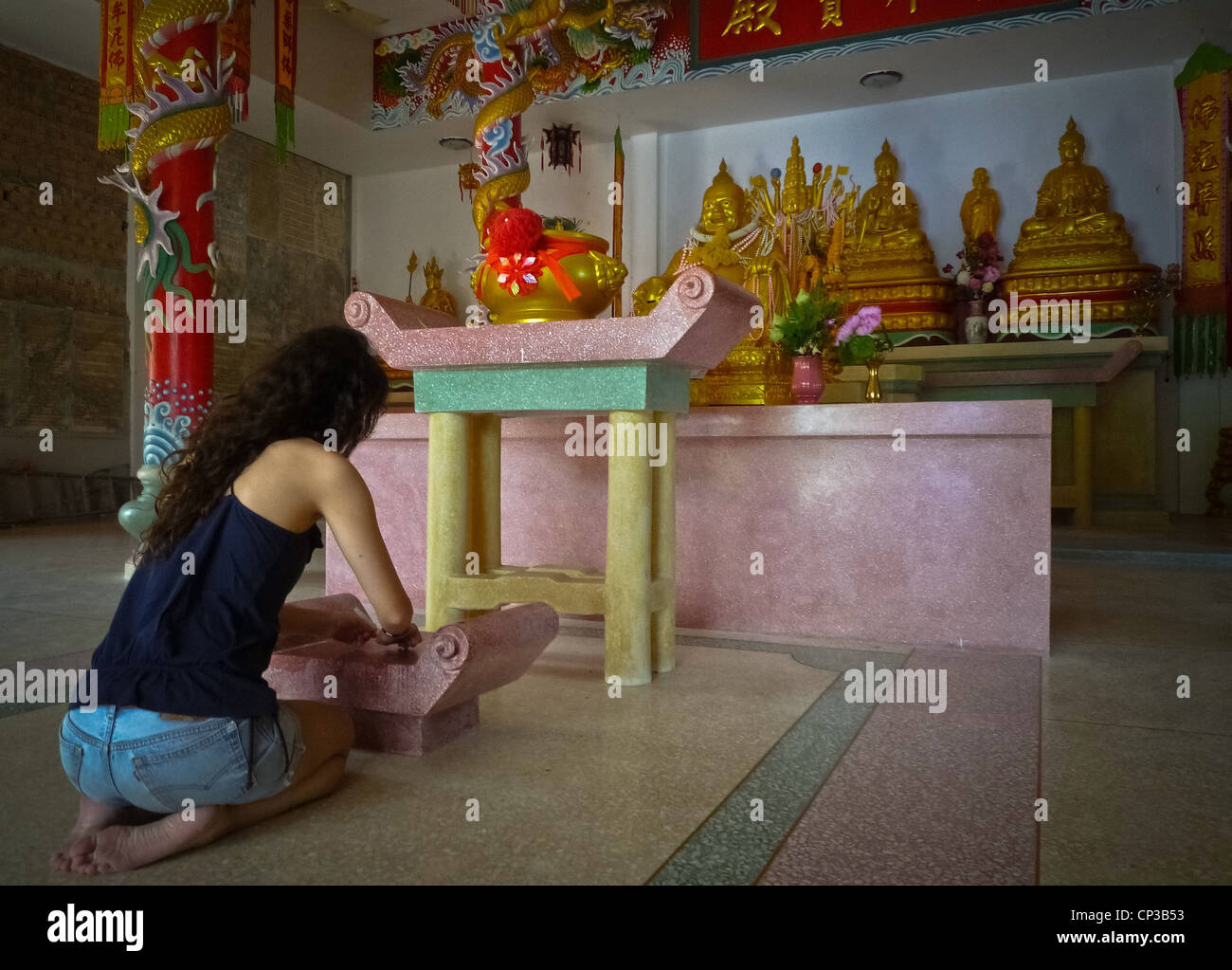 a073fc7189 Back View Chinese Woman Praying Stock Photos   Back View Chinese ...