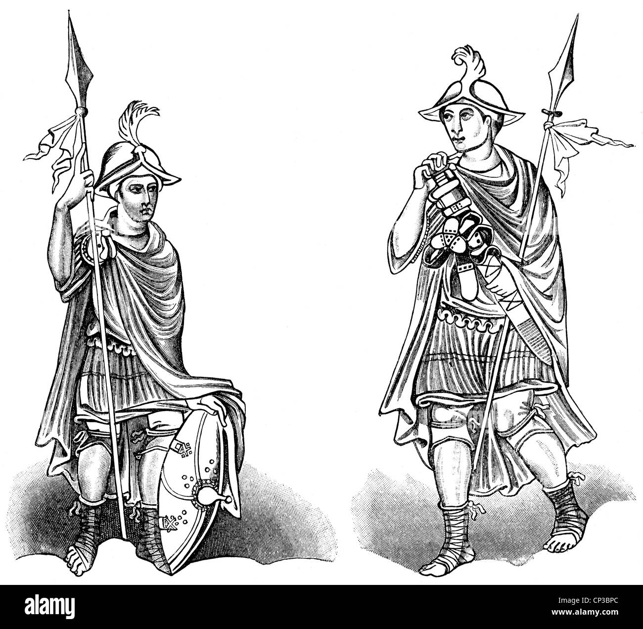 Historical print from the 19th century, Frankish warriors from the 9th century, - Stock Image