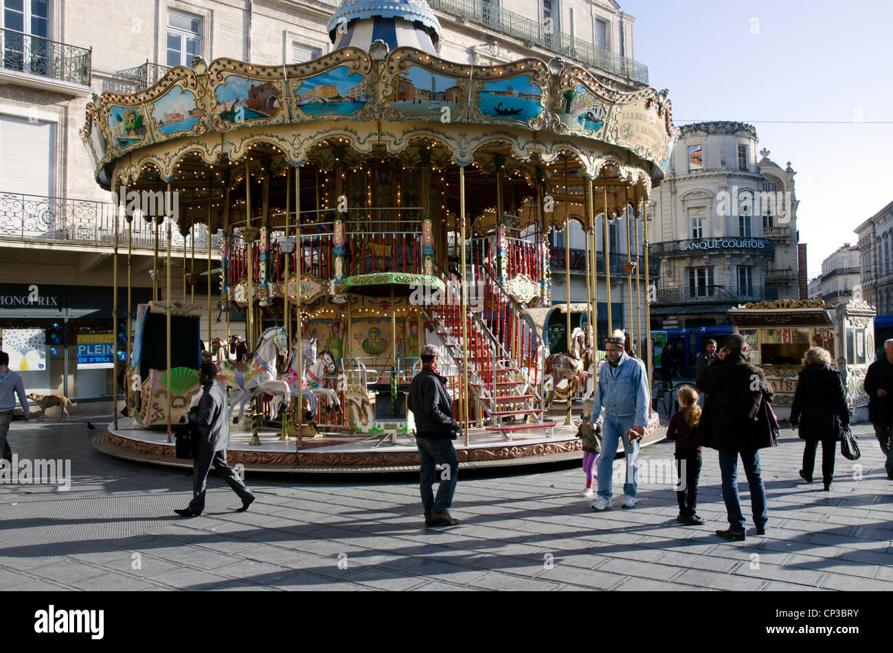 Classical beautiful carousel in the center of Montpellier. Stock Photo