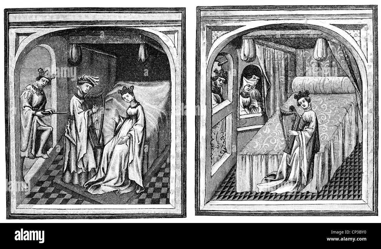 manuscript 15th century, the story of Tristan and Isolde, the scenes 'Isolde playing the harp' and 'Marte - Stock Image