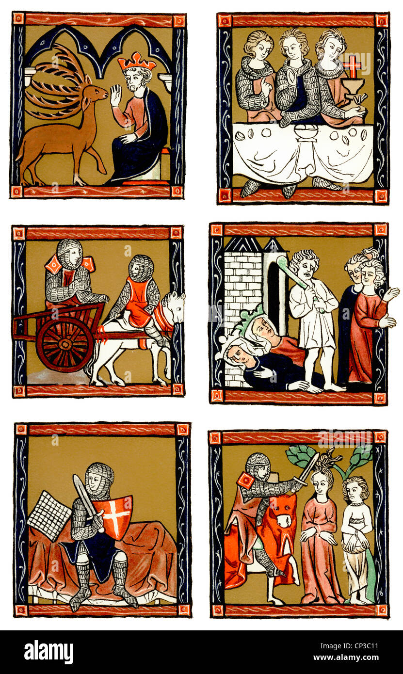 manuscript from the 13th century, paintings from the Arthur novels, tales about King Arthur, Merlin, Lancelot, Julius - Stock Image