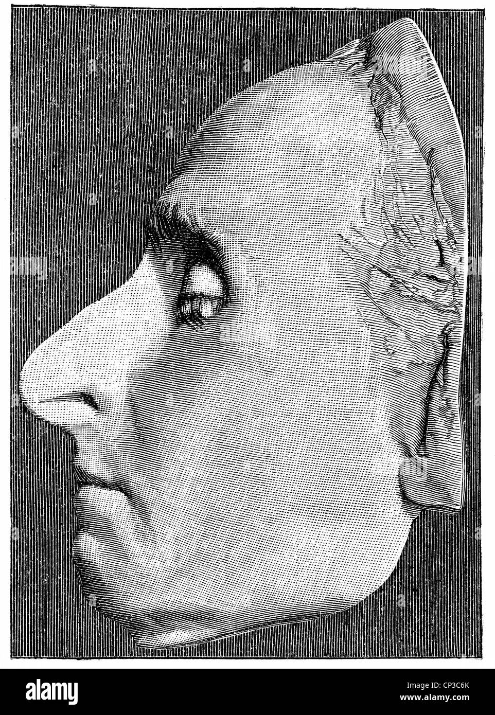 the death mask of Blaise Pascal, 1623 - 1662, a French mathematician, physicist, philosopher, writer and Catholic - Stock Image