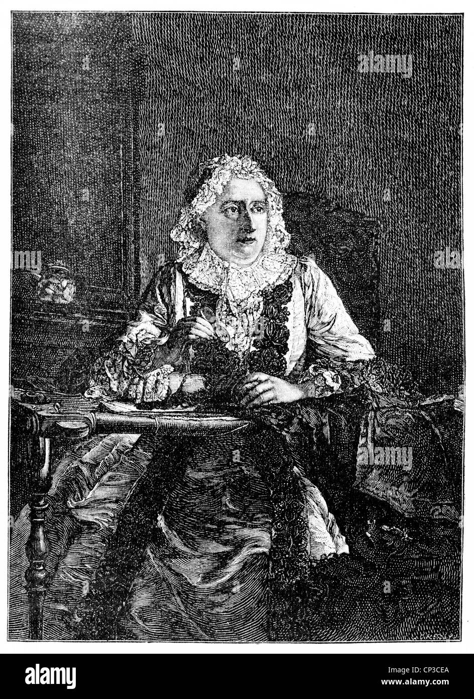 Madame Marie Thérèse Geoffrin, nee Rodet, 1699 - 1777, a French writer and Enlightenment Salonnière, - Stock Image