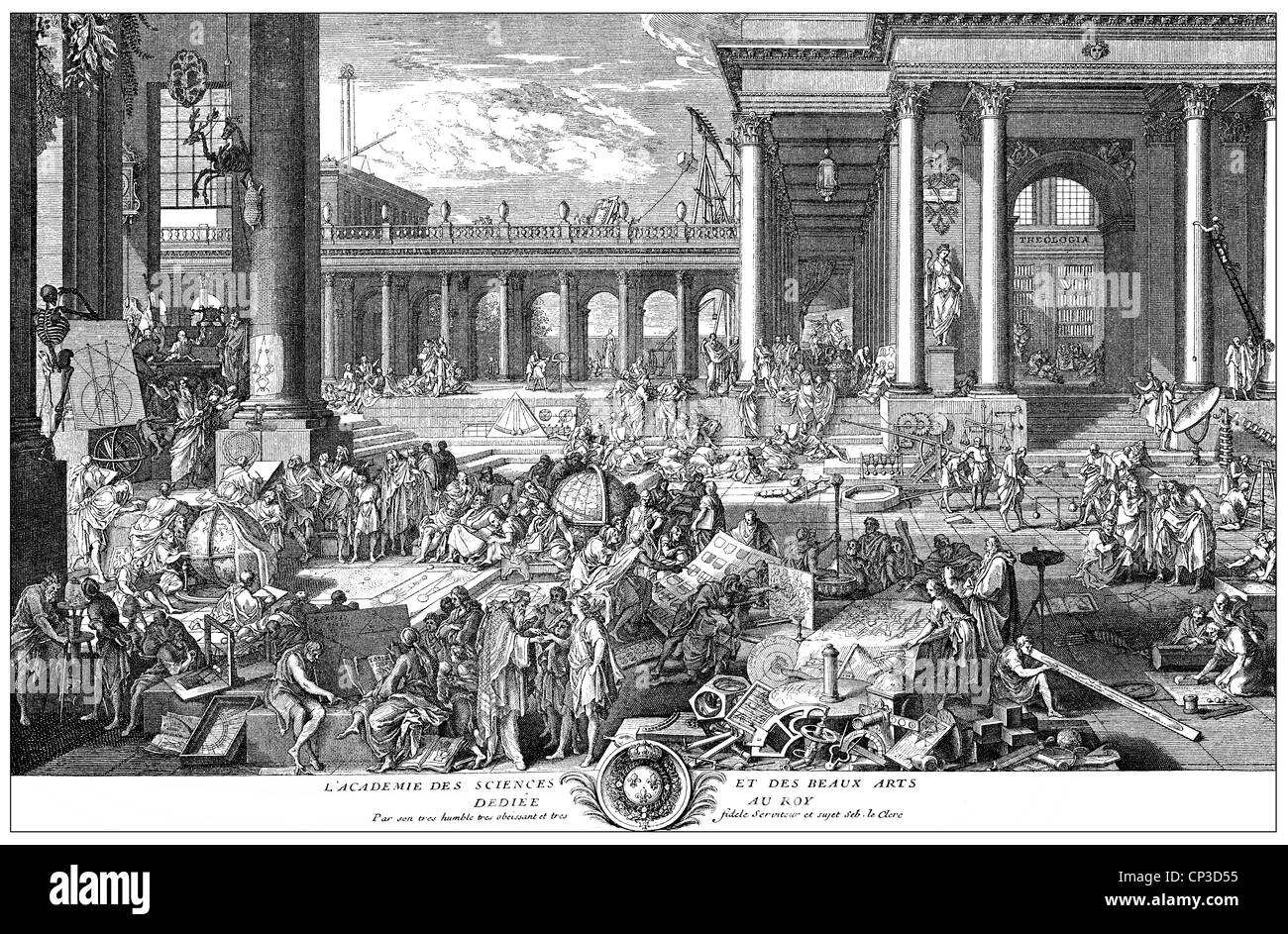 allegory of the French academic society Académie française also known as French Academy - Stock Image