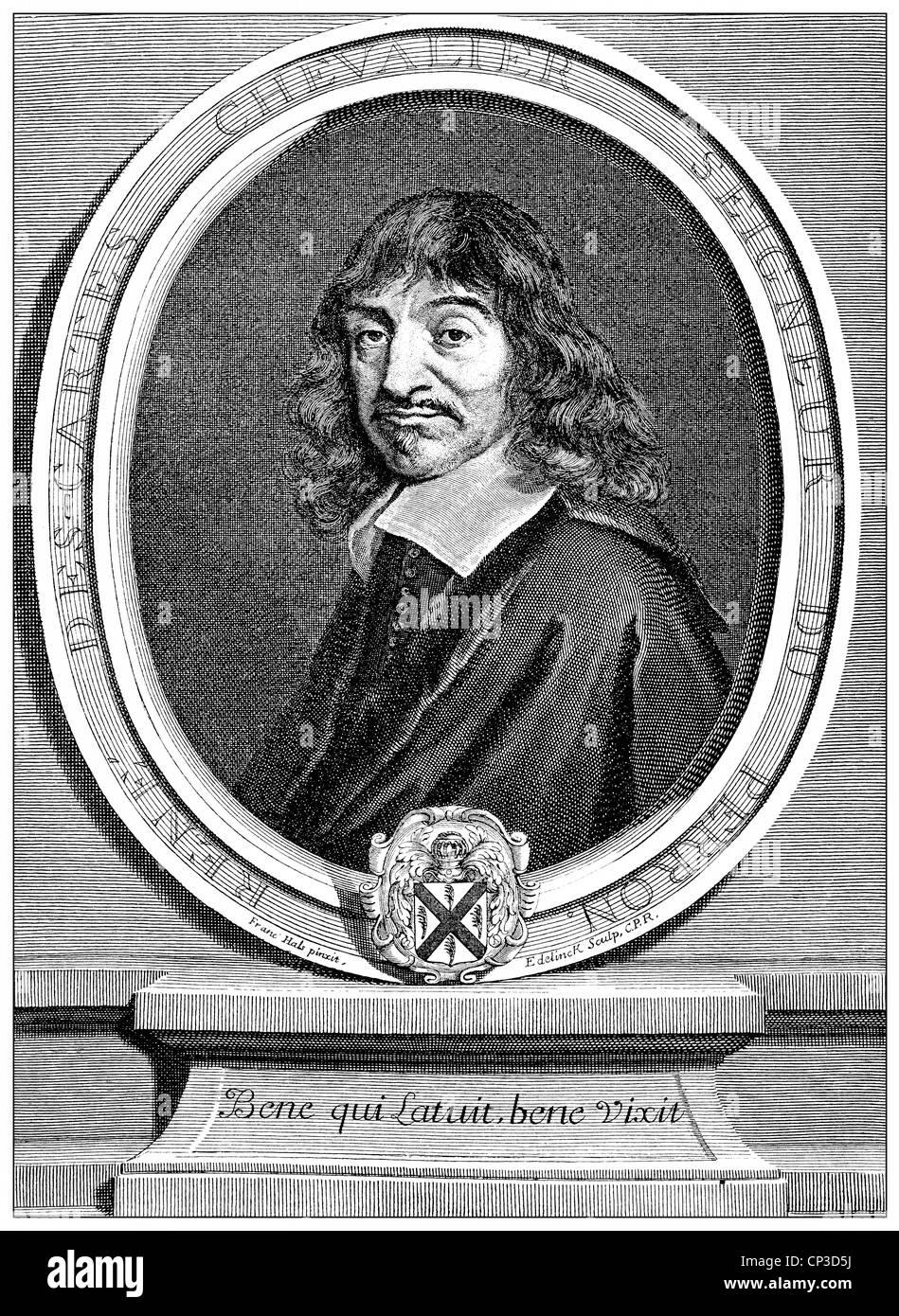 René Descartes or Renatus Cartesius, 1596 - 1650, a French philosopher, mathematician and scientist, Historische Stock Photo